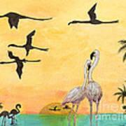 Flamingo Sunset Silhouette Cathy Peek Tropical Birds  Poster