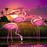 Flamingoes Flamingos Tropical Sunset Landscape Florida Everglades Large Hot Pink Purple Print Poster