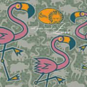 Flamingos Love Poster