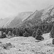Flatirons In Winter - Black And White Poster