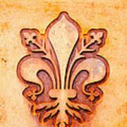 Fleur De Lis On A Rusty Metal Plate Poster