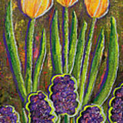 Fleurs D' Tulips And Hyacinths Poster