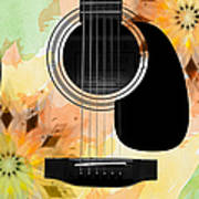 Floral Abstract Guitar 14 Poster