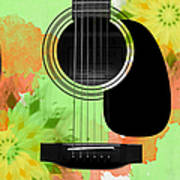 Floral Abstract Guitar 15 Poster