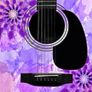 Floral Abstract Guitar 29 Poster