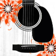 Floral Abstract Guitar 32 Poster