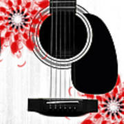 Floral Abstract Guitar 33 Poster