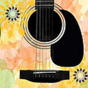 Floral Abstract Guitar 37 Poster