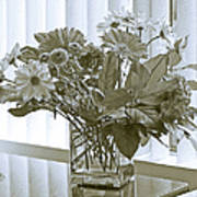 Floral Arrangement With Blinds Reflection Poster