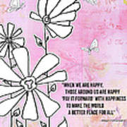 Floral Typography Word Art Quote Flowers And Butterflies By Megan Duncanson Poster
