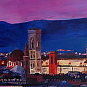Florence Skyline Italy With Santa Maria Del Fiore Poster
