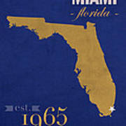 Florida International University Panthers Miami College Town State Map Poster Series No 038 Poster