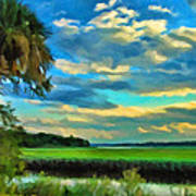 Florida Landscape With Palms Poster