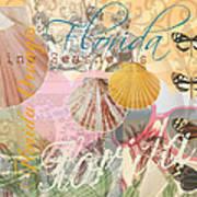 Florida Seashells Collage Poster