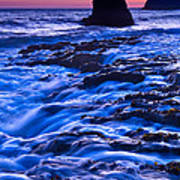 Flow - Dramatic Sunset View Of A Sea Stack In Davenport Beach Santa Cruz. Poster