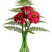 Flower Arrangement With Ferns And Zinnias Poster