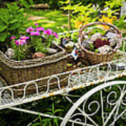 Flower Cart In Garden Poster
