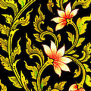 Flower Images Artistic From Thai Painting And Literature Poster