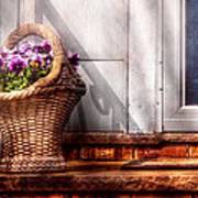 Flower - Pansy - Basket Of Flowers Poster by Mike Savad