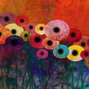 Flower Power Five Abstract Art Poster