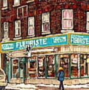 Flower Shop Rue Notre Dame Street Coin Vert Fleuriste Boutique Montreal Winter Stroll Scene Poster