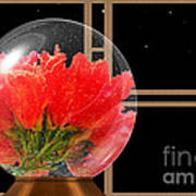 Flower Snow Globe At Window Poster