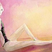 Flowered Bathing Suit Fashion Illustration Art Print Poster