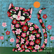 Flowered Calico Black Cat Poster