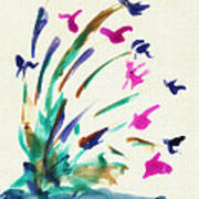 Flowers By The Pond Poster