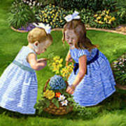 Flowers For Mama With Girls Garden Basket Bouquet Poster by Alice Leggett