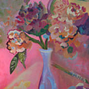 Flowers In A Lavender Vase Poster