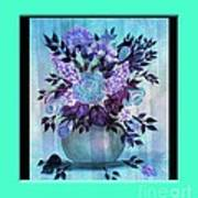 Flowers In A Vase With Blue Border Poster