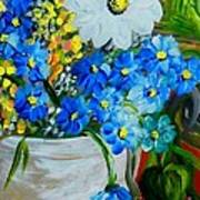Flowers In A White Vase Poster