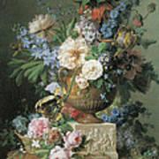 Flowers In An Alabaster Vase Poster by Gerard Van Spaendonck