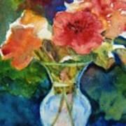Flowers In Glass Vase Poster