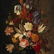 Flowers In Glass Vase With Shells C1625 Poster