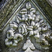 Flowers On A Grave Stone Poster