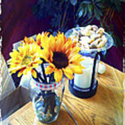 Flowers On Table Poster