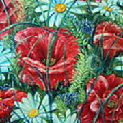 Flowers Poppies And Daisies Poster by Drinka Mercep