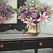 Flowers Table And Mirror In The Foyer Still Life Poster
