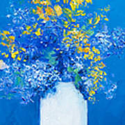 Flowers With Blue Background Poster