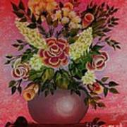 Flowers With Red Background Poster
