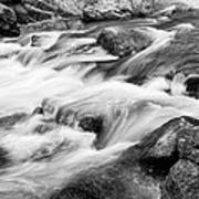 Flowing St Vrain Creek Black And White Poster