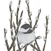Chickadee Art Hand-torn Newspaper Collage Art By Keiko Suzuki Bless Hue Poster