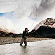 Fly Fishing At The Base Of Fitz Roy Poster