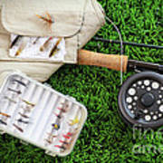 Fly Fishing Rod And Asessories Poster