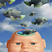 Flying Head Fish Poster