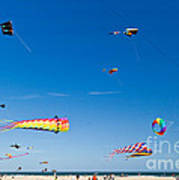 Flying Kites At St Augustine Beach Pier Poster