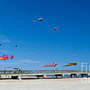 Flying Kites From The Pier Poster