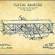 Flying Machine Patent Drawing From 1906 - Vintage Poster